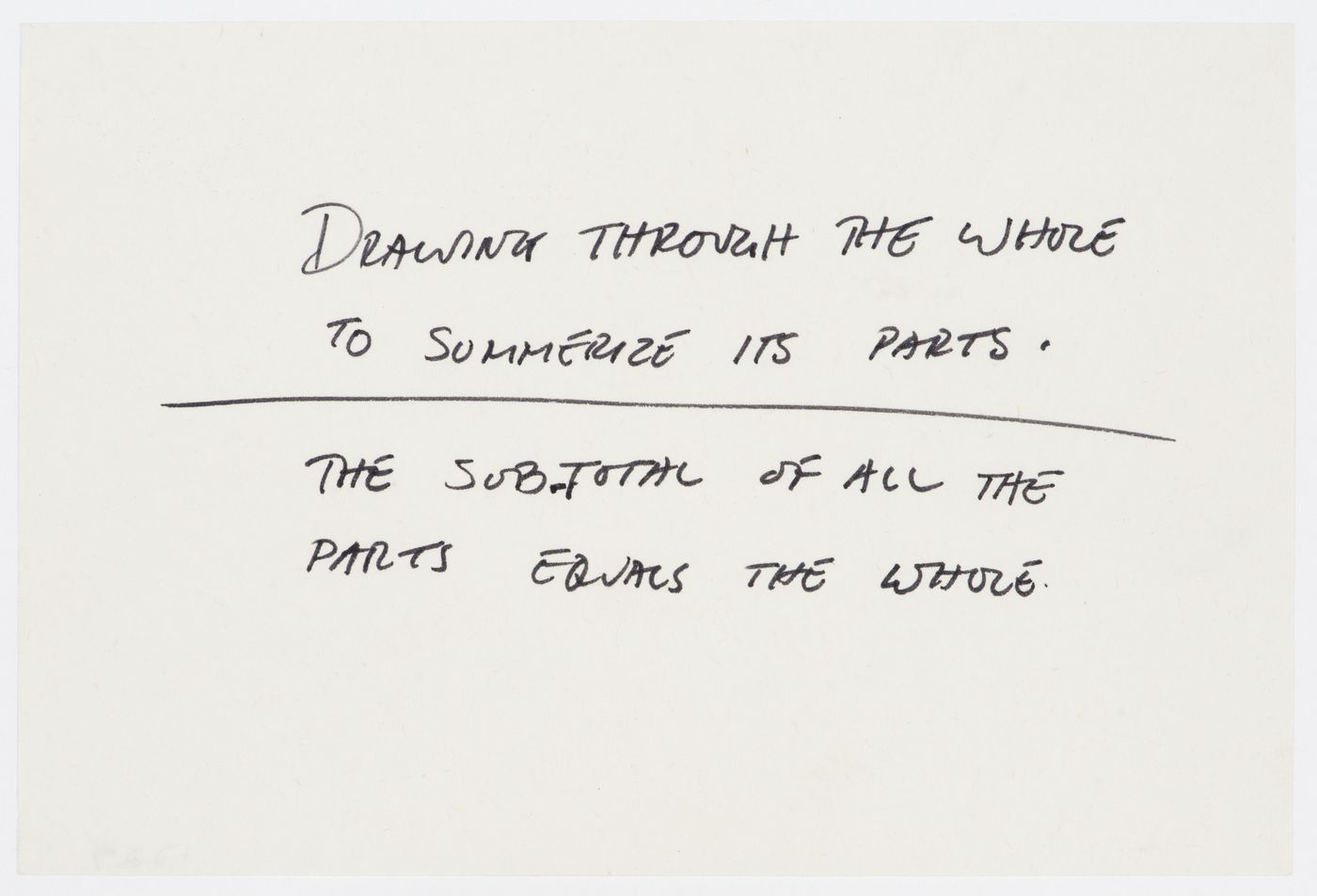 Drawing through the whole to summerize its parts. / The sub-total of all the parts equals the whole.