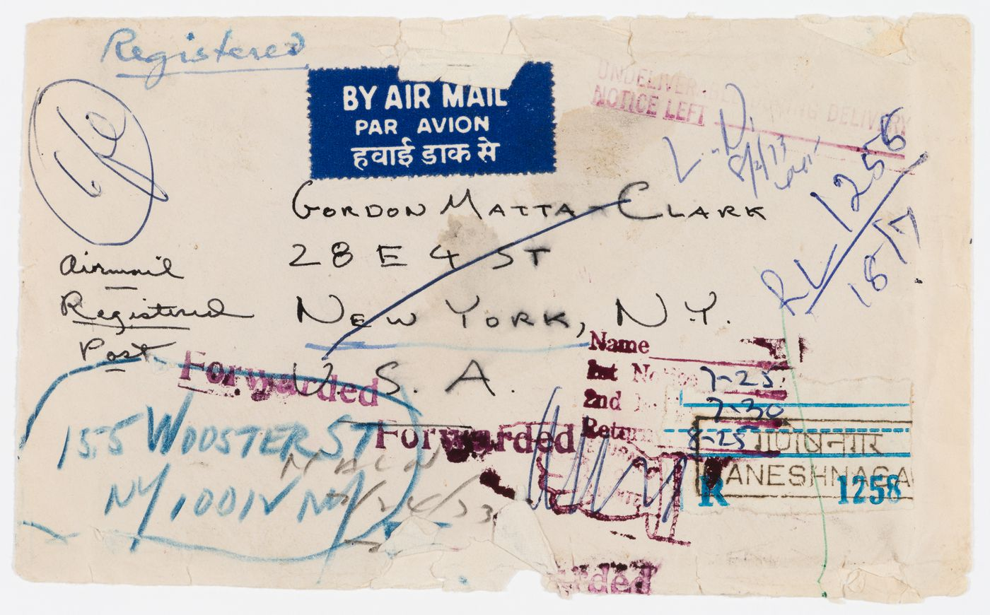 Envelope for a 2-page letter from Alan Saret to Gordon Matta-Clark