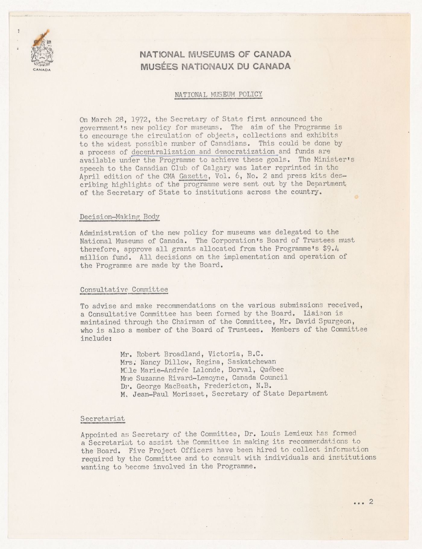 Policy statement by National Museums of Canada (from the project file Universal Modular Museum)