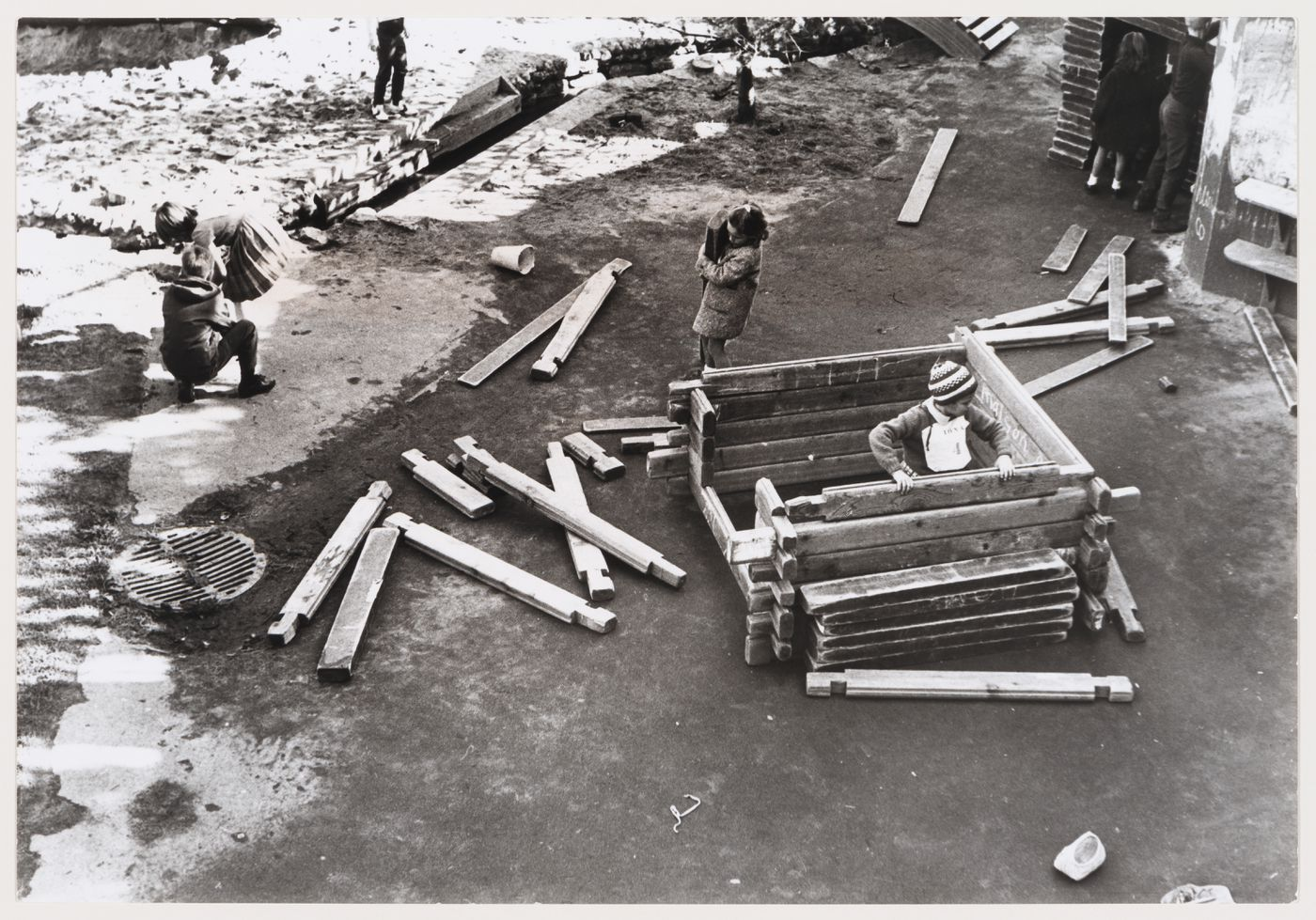 View of children playing at Children's Creative Centre Playground, Canadian Federal Pavilion, Expo '67, Montréal, Québec