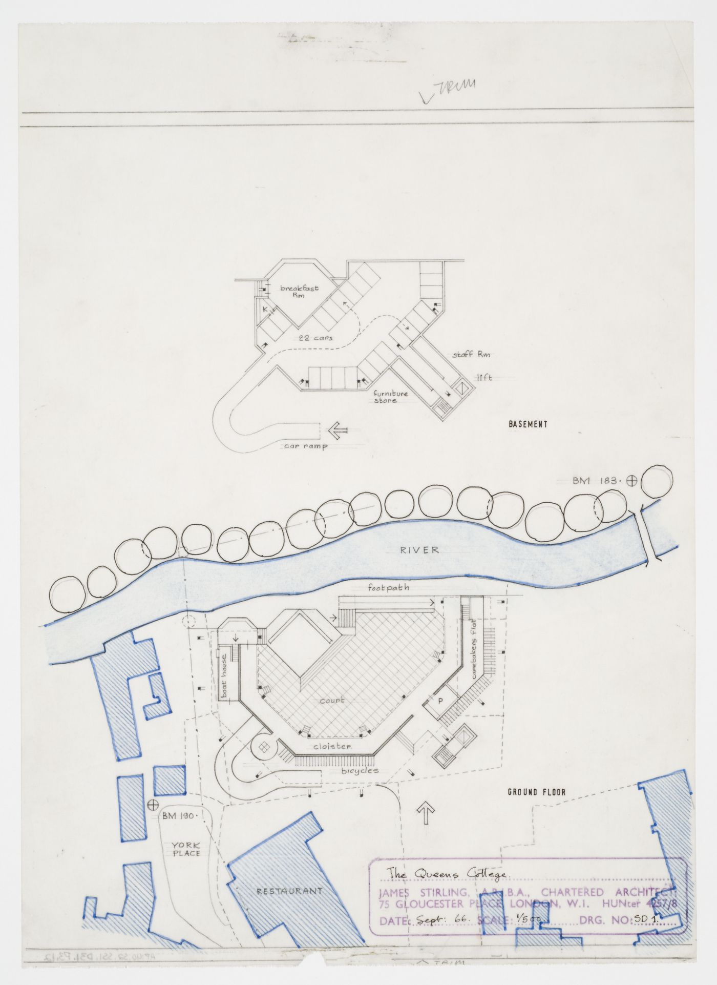 Florey Building, Queen's College, University of Oxford, Oxford, England: plans