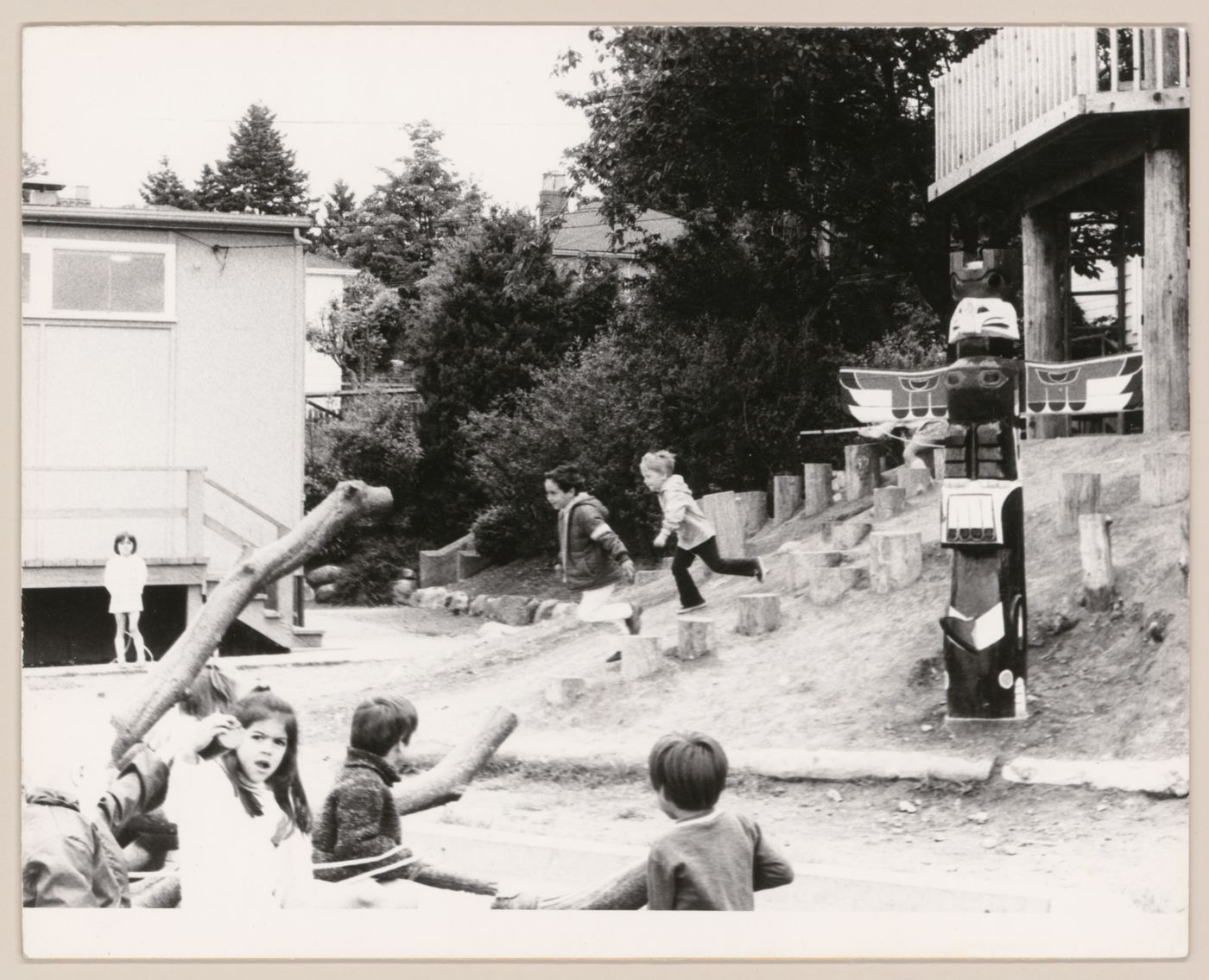 View of children playing in Southlands School Play Area, Vancouver, British Columbia