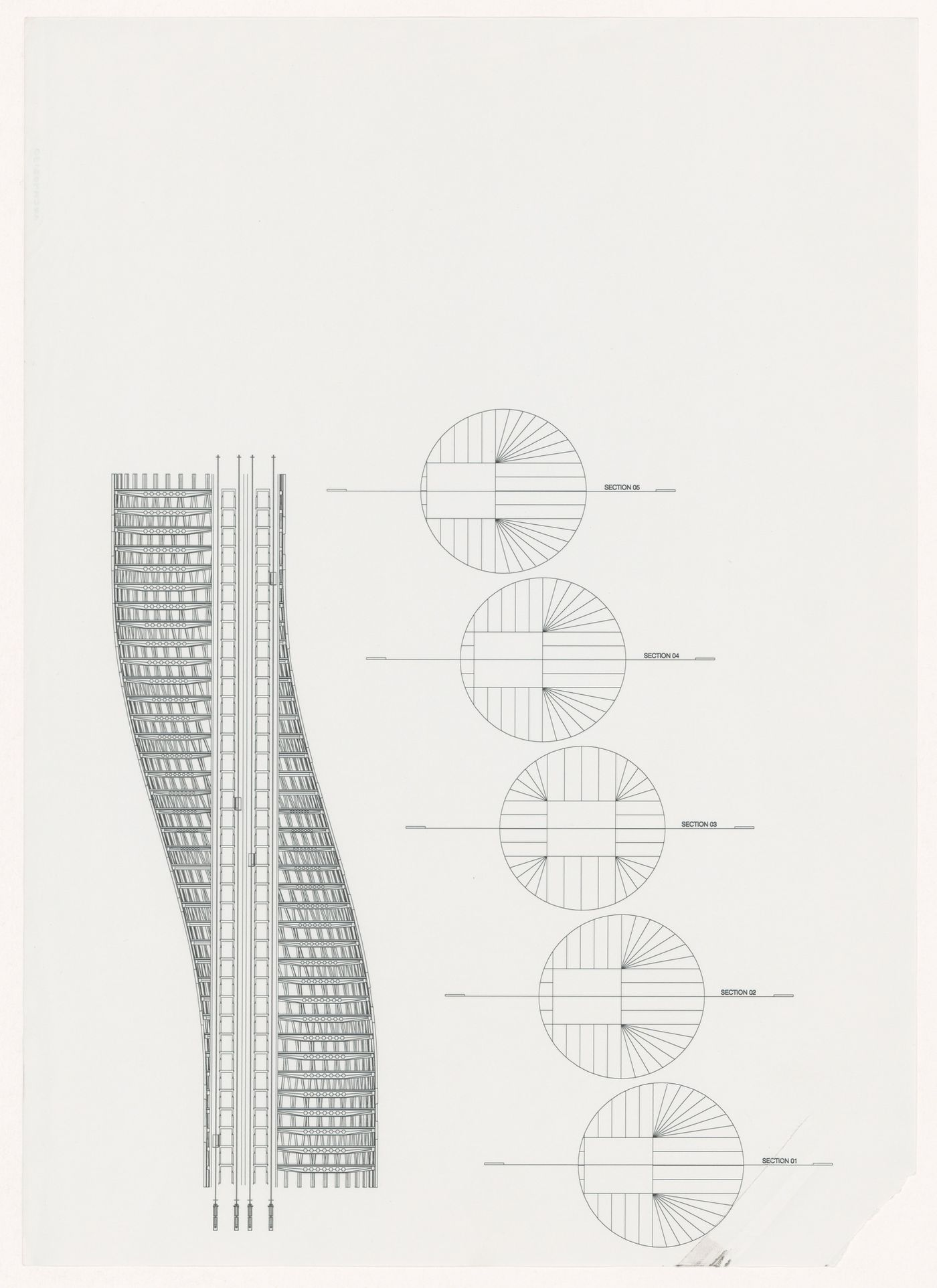 Sections and elevation for World Trade Center, Ground Zero, New York City, New York