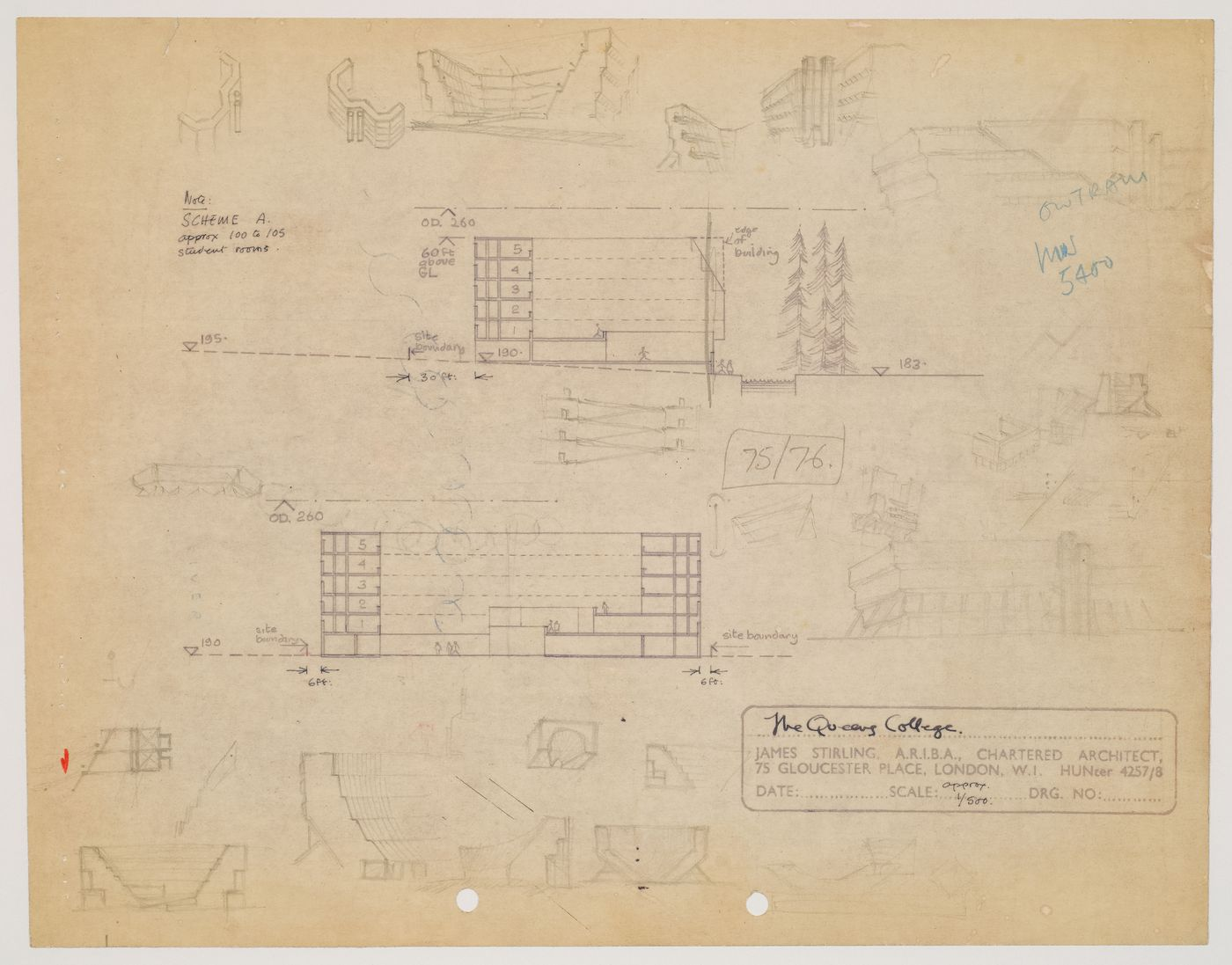 Florey Building, Queen's College, University of Oxford, Oxford, England: elevations and sketched sections and perspectives