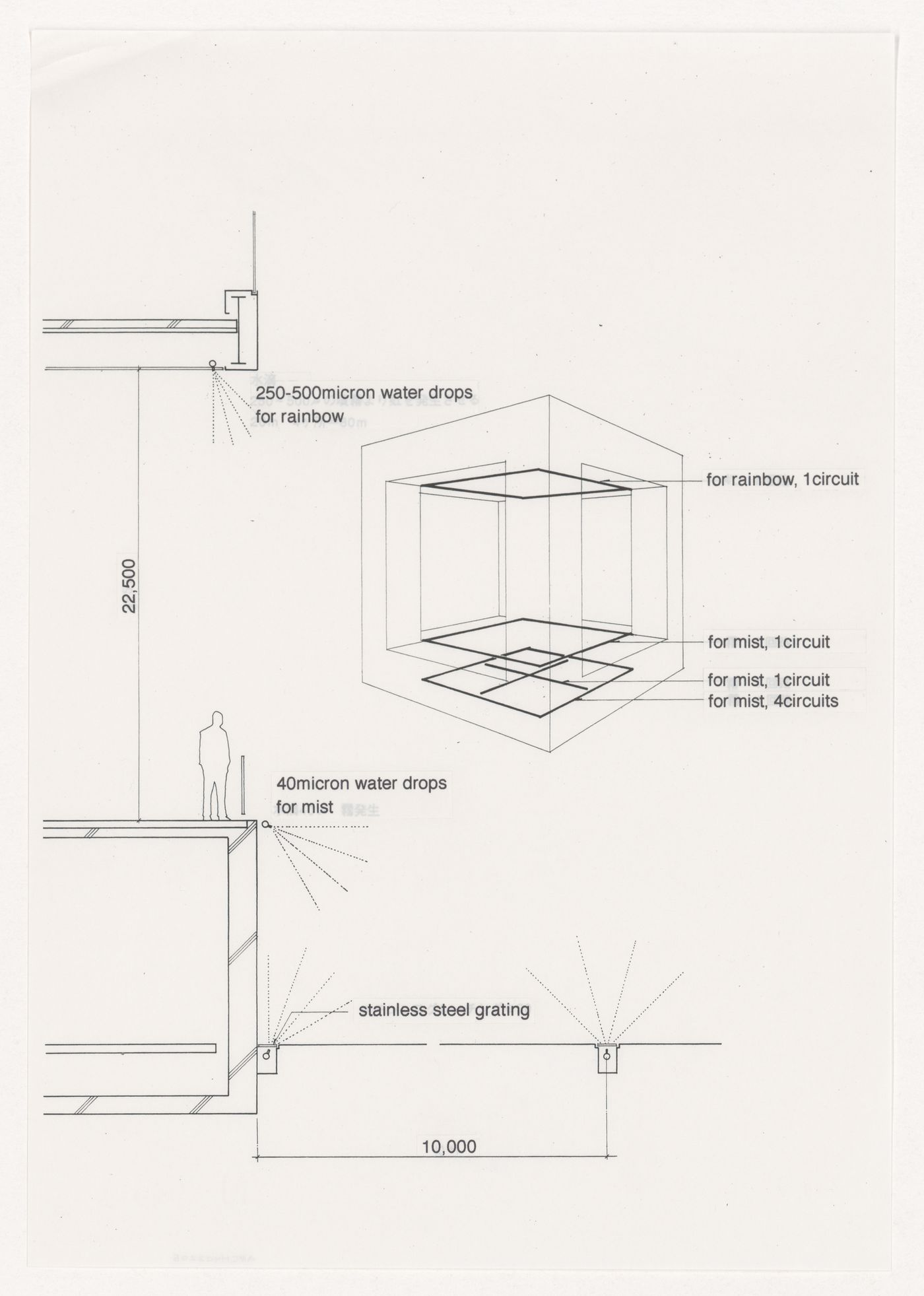 Diagrams related to mist and rainbow production for Prospecta Toyama '92 Observatory Tower, Imizu, Japan