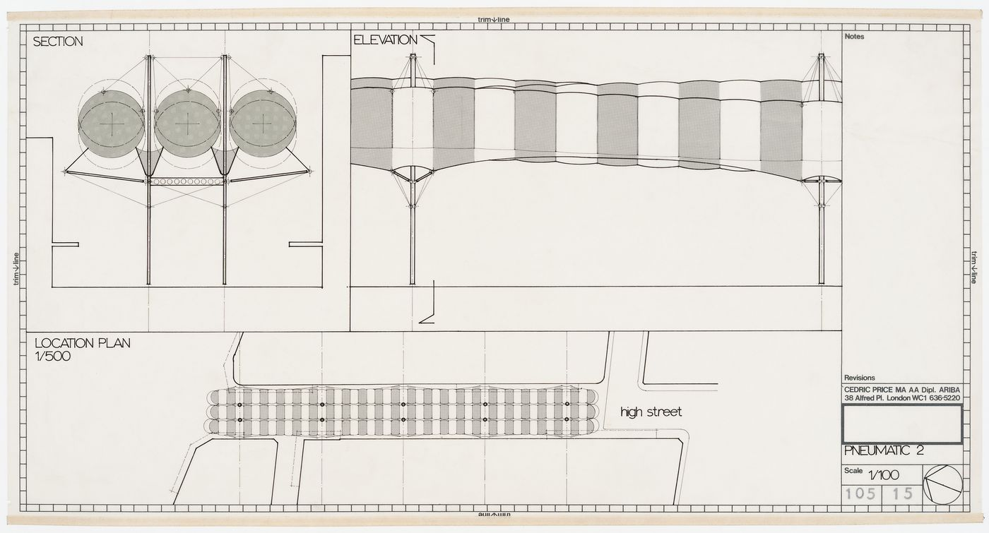Southend roof: section, elelvation and plan for pneumatic roof