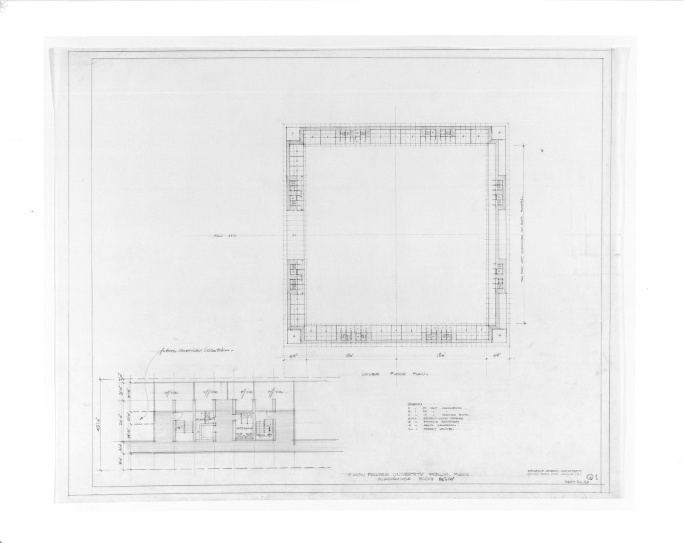 Quadrangle building - preliminary lower floor plan and department offices plan