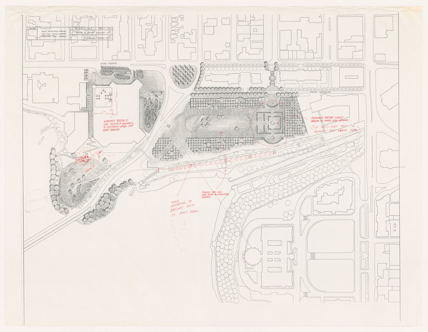 Landscape plan with annotations for National Gallery of Canada, Ottawa, Ontario