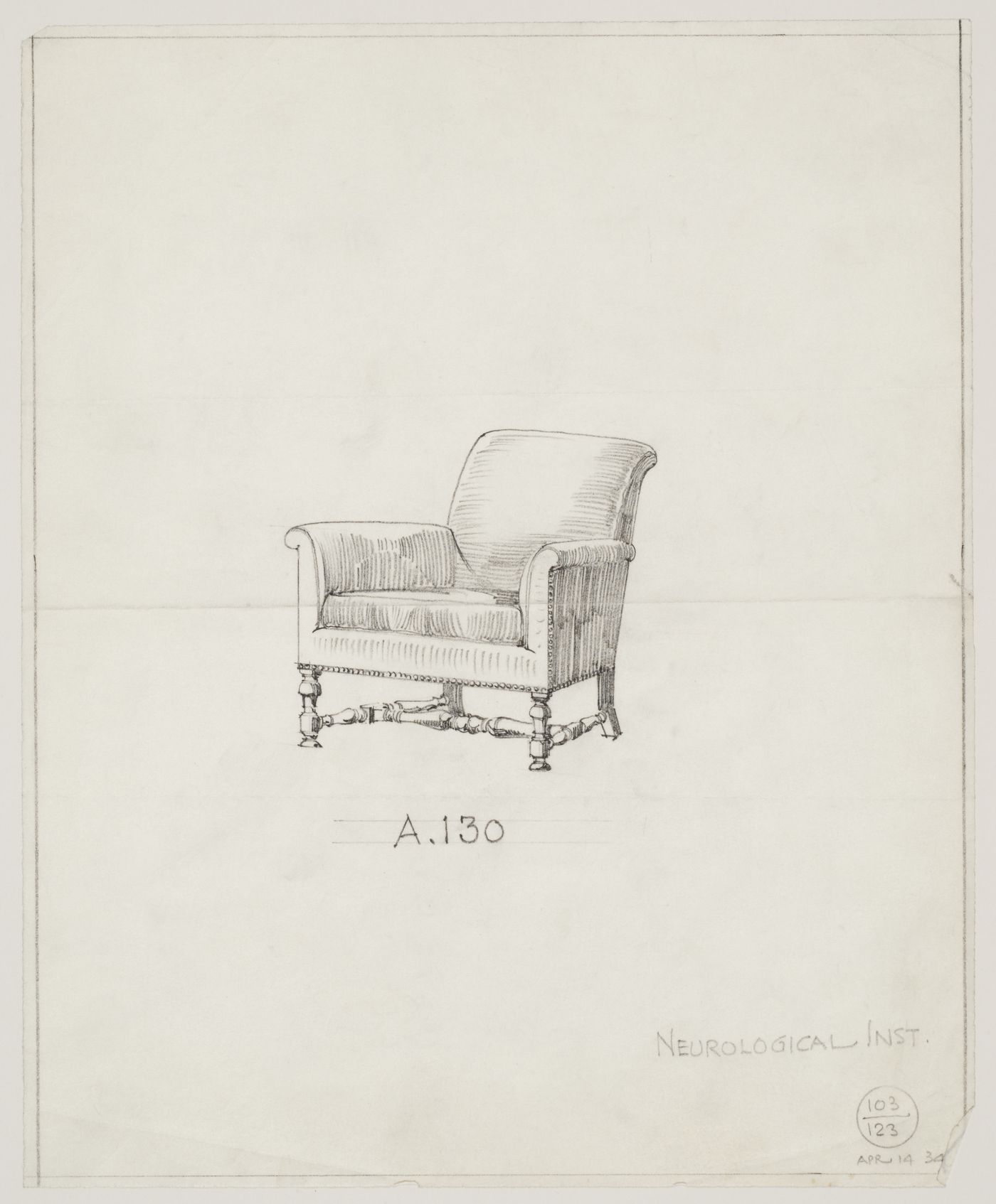 Montréal Neurological Institute, Montréal, Québec: drawing of a chair