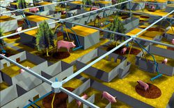 MVRDV, architectural firm. Digital rendering, Pig City, Rotterdam, The Netherlands, 2000-2001