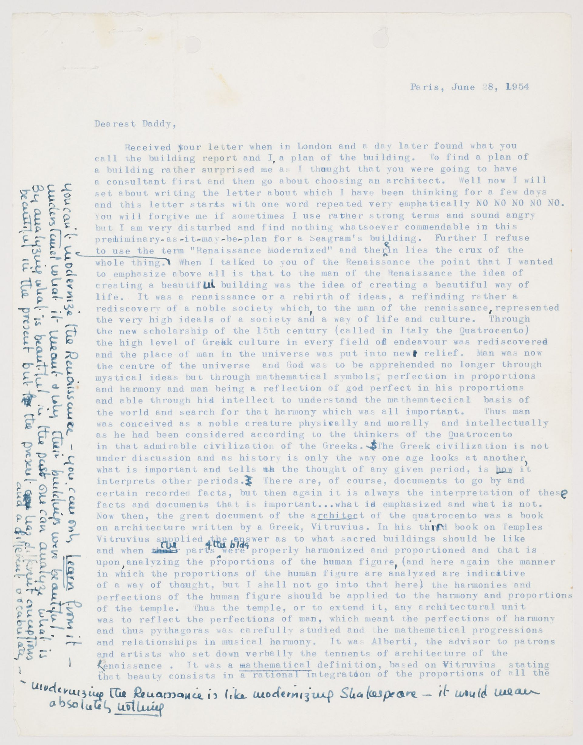 Letter From Phyllis Lambert To Samuel Bronfman Concerning The Future Seagram Building 28 June 1954 Fonds CCA ARCH278184